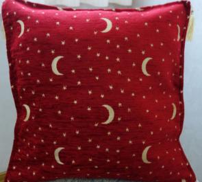 シェニール織りトルコ製クッションカバー (月と星)アンティークレッド1