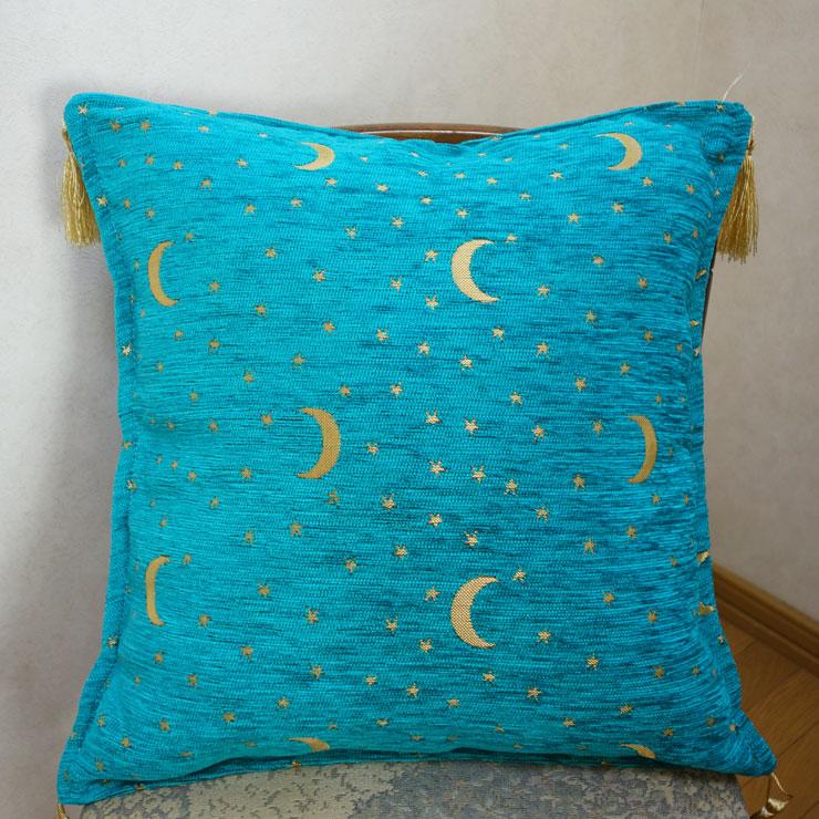 シェニール織りトルコ製クッションカバー (月と星)ターコイズ2