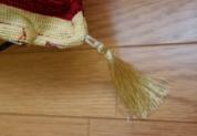 シェニール織りトルコ製クッションカバー (ターコイズ&クリーム)詳細2