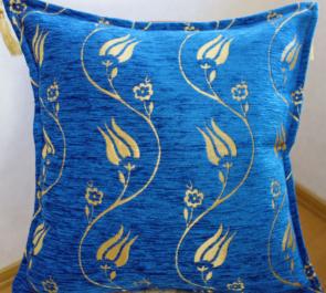 シェニール織りトルコ製クッションカバー(ラーレインディゴ)1