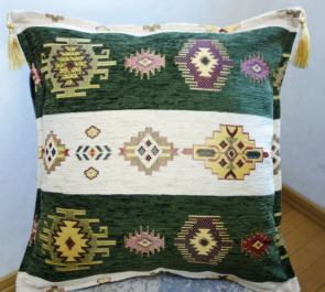 シェニール織りトルコ製クッションカバー キリム/ネイティブデザイン(ネイティブオリーブ&クリーム)