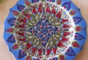 plate18-1 (ラーレブルー)トルコ・キュタフヤ陶器手描きプレート18cm1-1