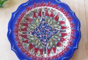 (ラーレネイビー)トルコ・キュタフヤ陶器手描きプレート18cm