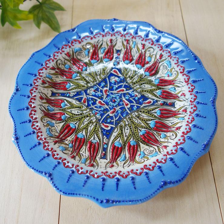 plate18-a2 (ラーレライトブルー)トルコ・キュタフヤ陶器手描きプレート18cm1-1
