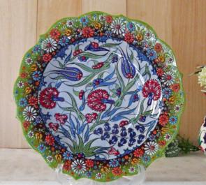 トルコキュタフヤ陶器手描きのプレート30グリーン1-1