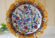 tkp30-a3 (ラーレイエロー)トルコ・キュタフヤ陶器手描きプレート30cm1-3