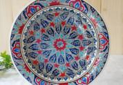 tkp30-a2(アラベスク柄ブルー)トルコ・キュタフヤ陶器手描きプレート30cm1-1