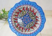 plate18-a2 (ラーレライトブルー)トルコ・キュタフヤ陶器手描きプレート18cm1-2