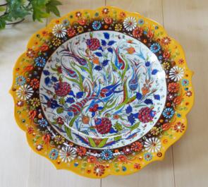 tkp30-a3 (ラーレイエロー)トルコ・キュタフヤ陶器手描きプレート30cm1-1