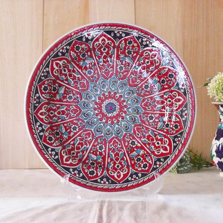 tkp30-7(アルハンブラ柄レッド)トルコ・キュタフヤ陶器手描きプレート30cm1-1