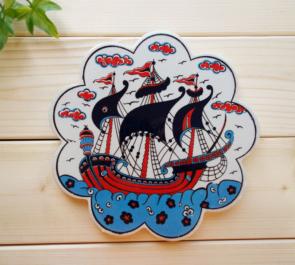 c0086-34 (帆船)トルコプリント鍋敷き1-1