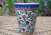 (イスラミックカーネーション)手描きのトルコ・キュタフヤ陶器カップ14-1