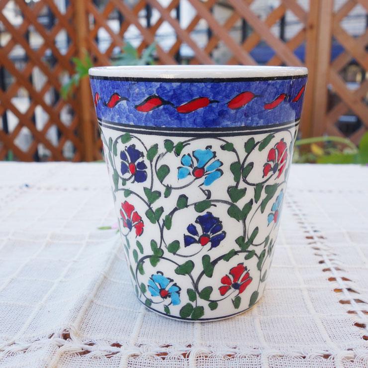 cup-32 (クラシカルカーネーション)手描きのトルコ・キュタフヤ陶器カップ32-1cup32-1
