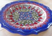 plate18-4 (ラーレネイビー)トルコ・キュタフヤ陶器手描きプレート18cm