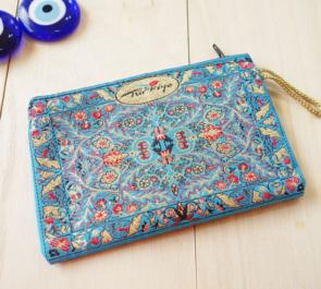 nazapc24 (エスリムブルー)トルコの絨毯柄デザインポーチ